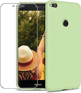Funda Huawei P8 Lite 2017 + Protector de Pantalla de Vidrio Templado, Carcasa Ultra Fino Suave Flexible Silicona Colores del Caramelo Protectora Caso Anti-rasguños Back Case: Amazon.es: Electrónica