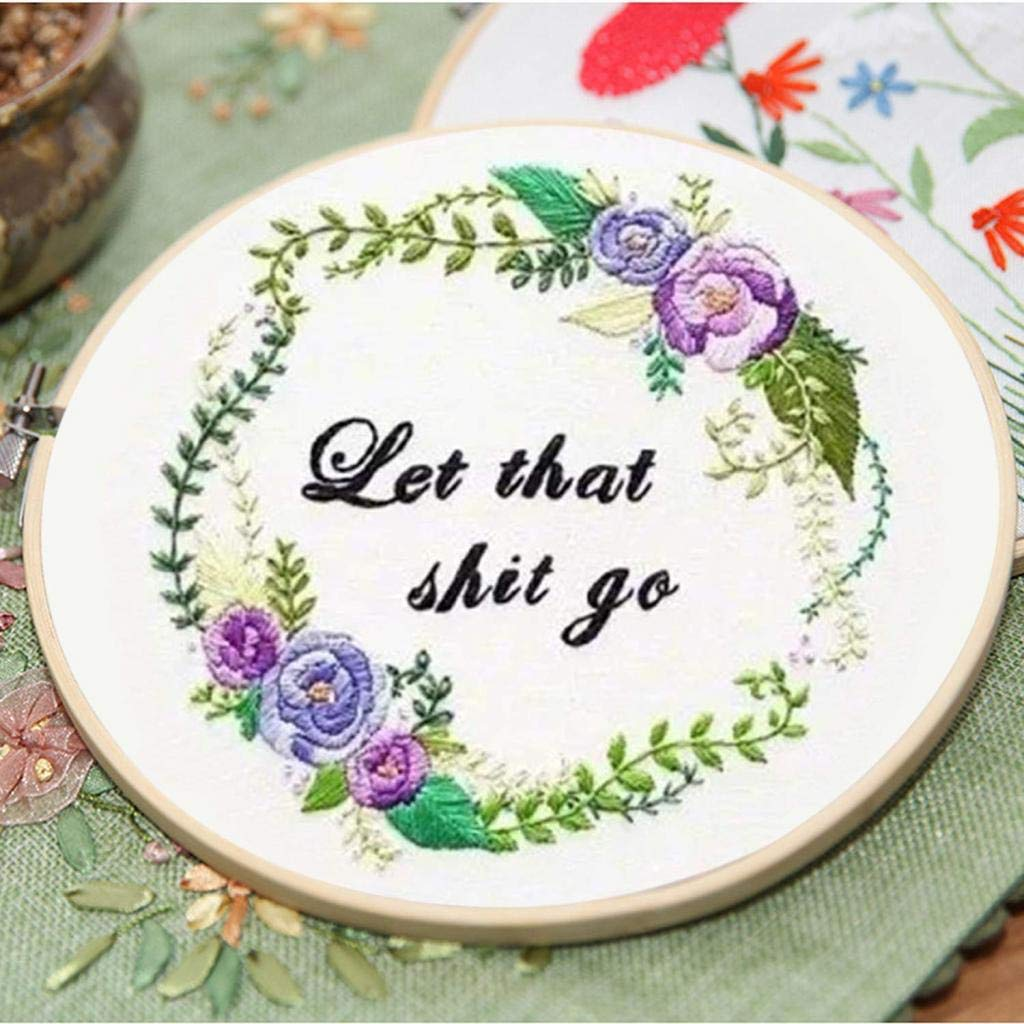 Louise Maelys Embroidery Starter Kit Full Range of Stamped Cross Stitch Kits for Beginner Including Embroidery Cloth with Pattern Embroidery Hoop Color Threads Tools Kit