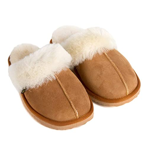 1999e464d Women's Sheepskin Slippers Chestnut - Scuffs Slippers - Indoor Shoes House  Slipper (US - 5