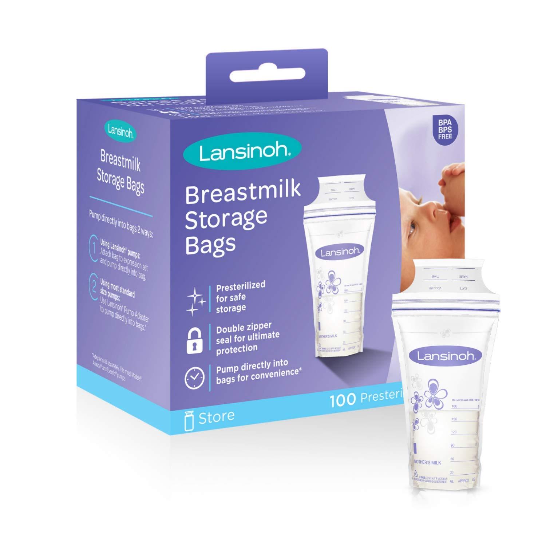 Lansinoh Breastmilk Storage Bags, 100 Count (1 Pack of 100 Bags), Milk Freezer Bags for Long Term Breastfeeding Storage, Pump Directly into Bags, Nursing Essentials by Lansinoh