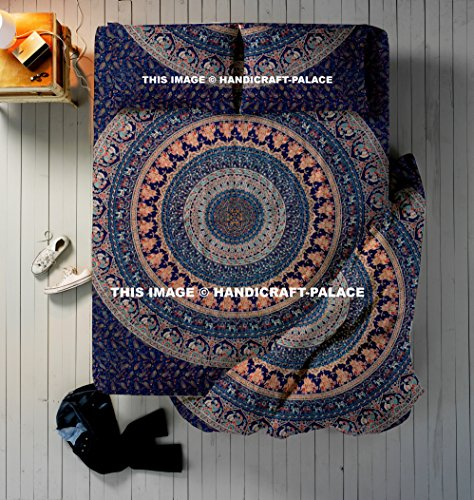 - HANDICRAFT-PALACE 4 PC Set Doona Bedding Boho Indian Duvet Cover Reversible Doona Cover with 1 pc Tapestry Queen Size Bedsheet Elephant Mandala Wall Hanging Beach Throw & Pillow Covers Hippie