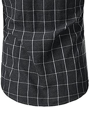 Mens Casual Long Sleeve Plaid Slim Fit Button Down Dress Shirts Tops