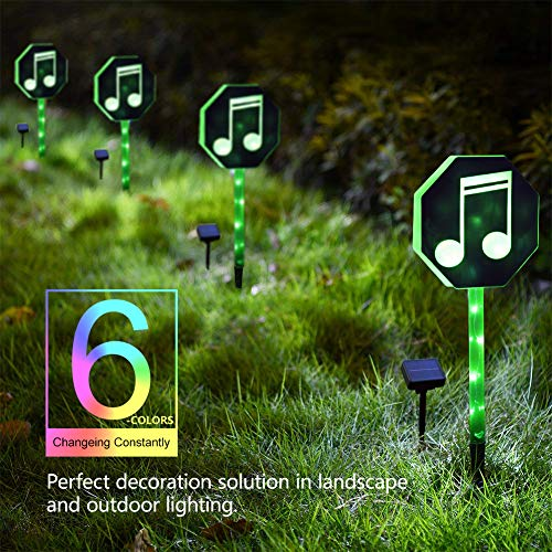 Fanshunlite Solar Lights Outdoor,LED Color Changing Solar Stake Lights Outdoor,Solar Light LED Garden Music Notes Decor,Patio Lights LED Outdoor Multicolor Changing LED Lights,Navy Blue ()