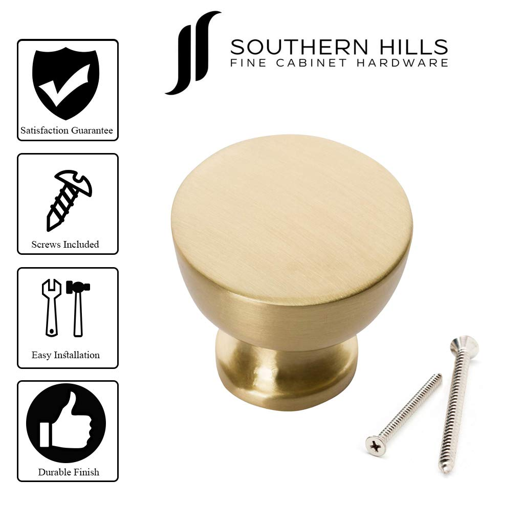 Southern Hills Satin Brass Cabinet Knobs - Pack of 5 -Brushed Brass Knobs - Round - Pack of 5 - Kitchen Drawer Pulls SHKM013-BRS-5 by Southern Hills (Image #4)