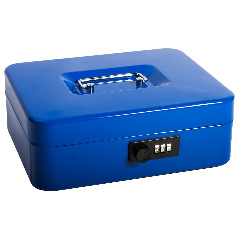 Safe Cash Box With Combination Lock, Decaller Medium Double Layer Cash Box with Money Tray Locking Storage Box, 9 4/5'' x 7 4/5'' x 3 1/2'', QH2502M, Blue