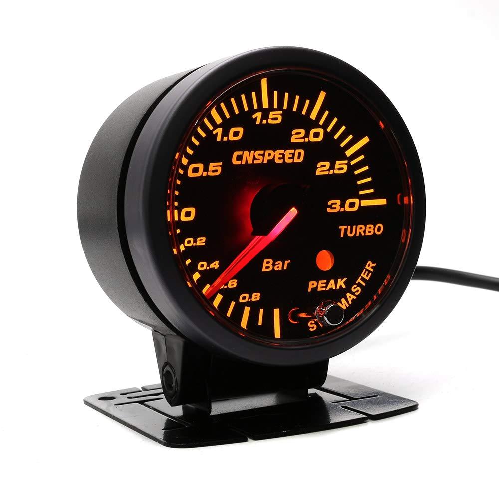 CNSPEED - Medidor de presión de 3 bares, color negro, 60 mm, con medidor de boost turbo alumbrado blanco y ámbar: Amazon.es: Coche y moto