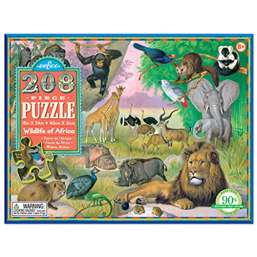 eeBoo - 208 Piece Wildlife of Africa Puzzle
