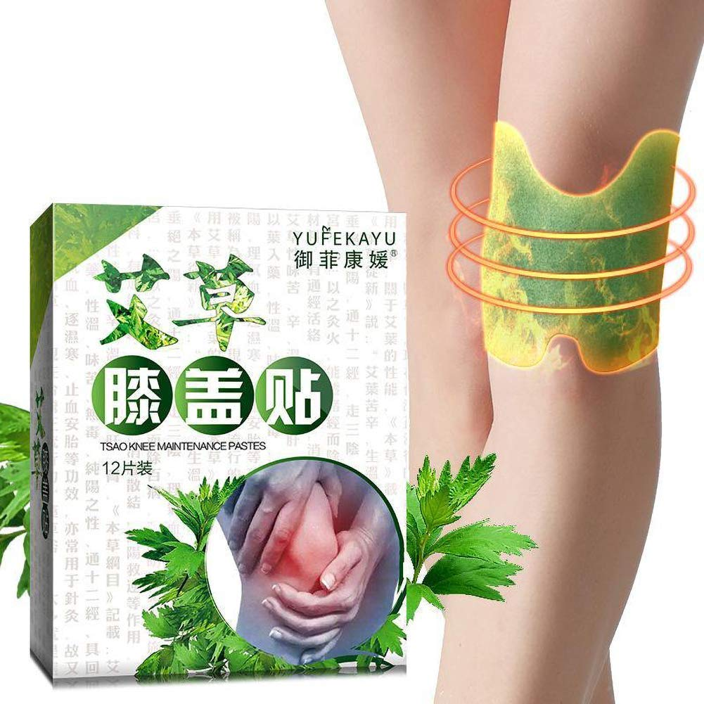 12pcs/Box Knee Discomfort Relief Plaster Moxa Hot Moxibustion Leg Pain Relief Wormwood Sticker Self Heating Warming Meridians Patches Plaster