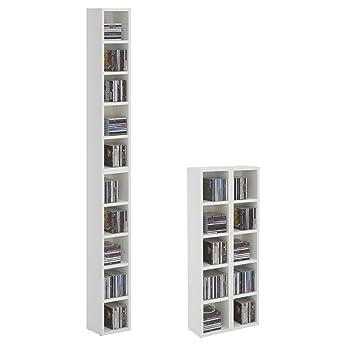Regal weiß schmal klein  CD DVD Regal Ständer Aufbewahrung CHART, in weiß mit 10 Fächern ...