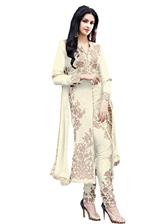 4ddede6f6 STYLE IN S Embroidered White Georgette Fashion Shervani Style Party Wear  Semi-Stitched Suit  Amazon.in  Clothing   Accessories