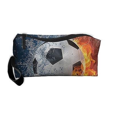 Portable Soccer Ball On Fire And Water Flame Splashing Thunder Lightning Receiving Package Makeup Bag Pencil Pen Case Makeup Bag Set For Unisex