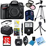 Nikon D7200 DX-Format 24.2MP Digital HD-SLR Body Bundle w/ lens cleaning kit, compact bag, micro fiber cloth, 32GB memory card, 57'' tripod, 58mm filter kit, manual flash, training DVD & more