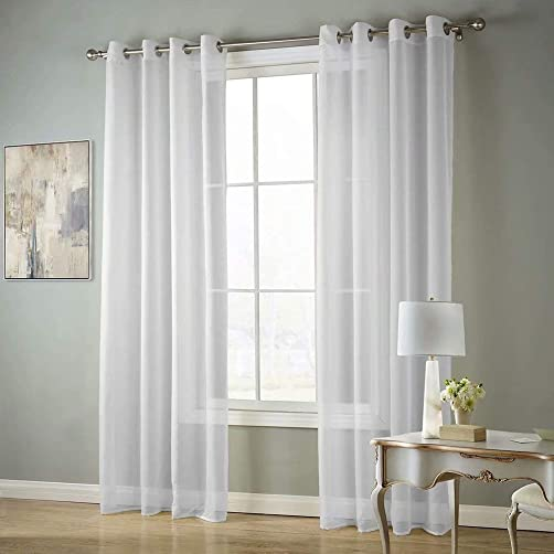 MvchennL Voile Sheer Grommet Semi-Sheer Curtains – 2 Pieces – Beautiful Elegant Panels for Living Room, White, 55 Wx102 L