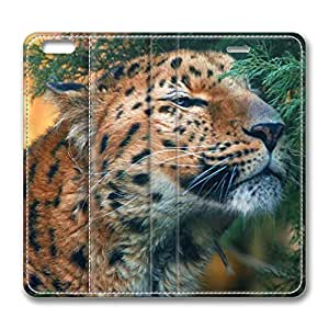 iPhone 6 Case, iPhone 6 Leather Case, Fashion Protective PU Leather Slim Flip Case [Stand Feature] Cover for New Apple iPhone 6(4.7 inch) - Cute Amur Leopard