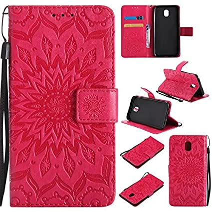 Phone Case, Sunflower Printing Design PU Leather Flip Wallet Lanyard Protective Case with Stand&Card Slot for Samsung Galaxy J5 Pro 2017 J530 (European Version) (Color : Rose Gold) CONGJIEUS