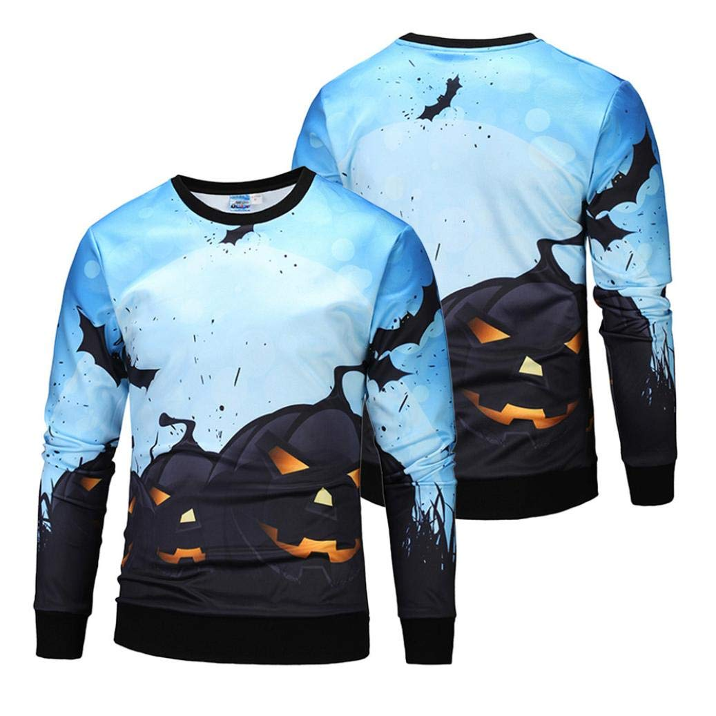 kaifongfu Men Scary Halloween Tops with Pumpkin 14D Print Long Sleeve Party Hoodie Blouse(Blue,S) by kaifongfu-mens clothes (Image #2)