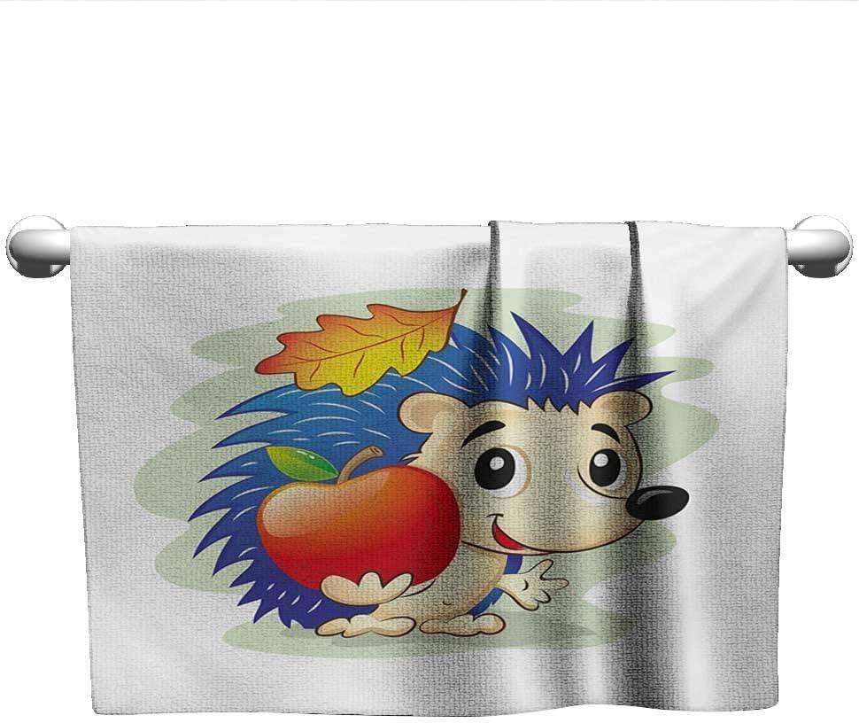 Bensonsve Baby Bath Towel Hedgehog,Colorful Digital Art Cartoon Animal with an Apple Leaf Autumn Season Inspirations,Multicolor,Shammy Towel for car