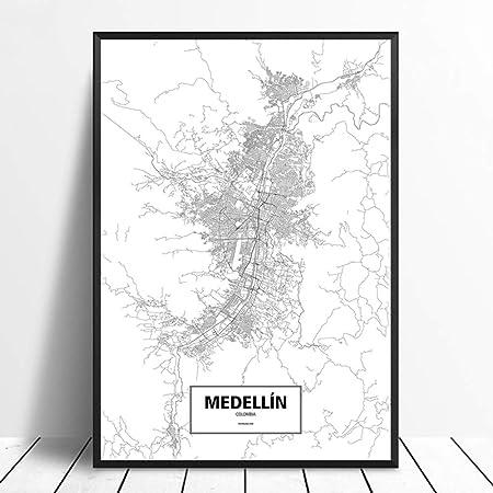 SQSHBBC Medellín, Colombia Blanco Negro Personalizado Mapa del Mundo de la Ciudad Cartel Impresión en Lienzo Estilo nórdico Arte de la Pared Decoración para el hogar20X30CM sin Marco: Amazon.es: Hogar