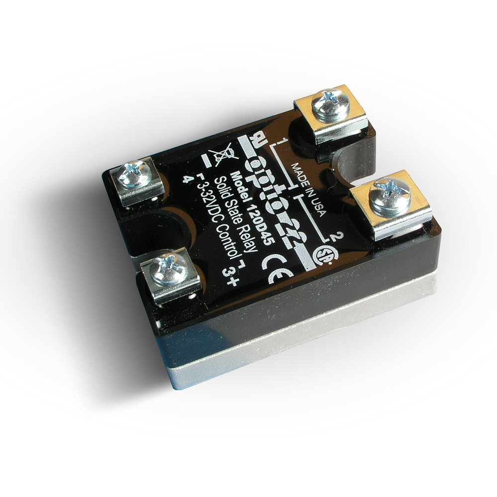Opto 22 120D45 DC Control Solid State Relay, 120 VAC, 45 Amp, 4000 V Optical Isolation, 1/2 Cycle Maximum Turn-On/Off Time, 25 - 65 Hz Operating Frequency