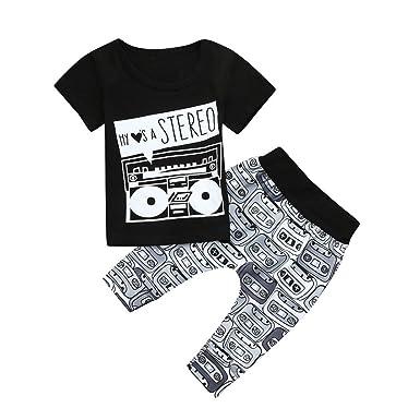 71fbca501 PAOLIAN Conjuntos para bebé niños Unisex Ropa para recién Nacidos Verano  Camisetas + Pantalones para bebés niño Impresion Audio y Alfabeto de 6  Meses 12 ...