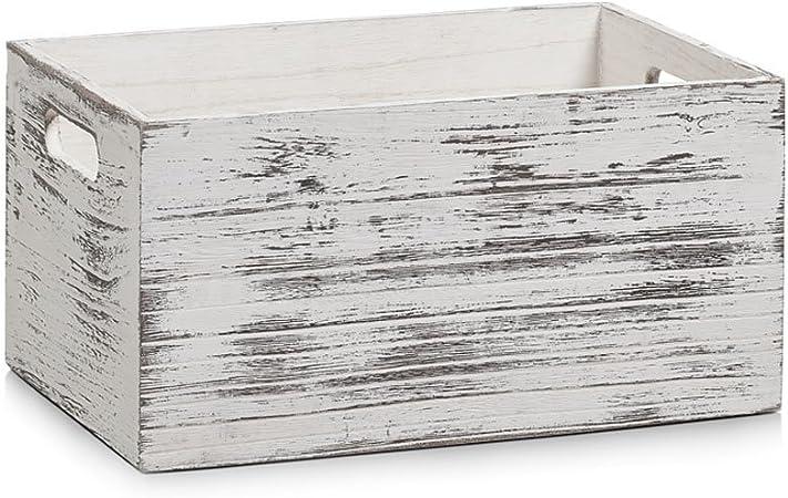 Zeller 15133 Caja de Almacenamiento, Madera, Blanco, 30x20x15 cm: Amazon.es: Hogar
