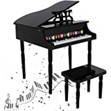HOTYARD Kids' Piano, 30 Keys Wood Toy Grand Piano w/ Bench, with Four feet and Mechanical Sound (Black)