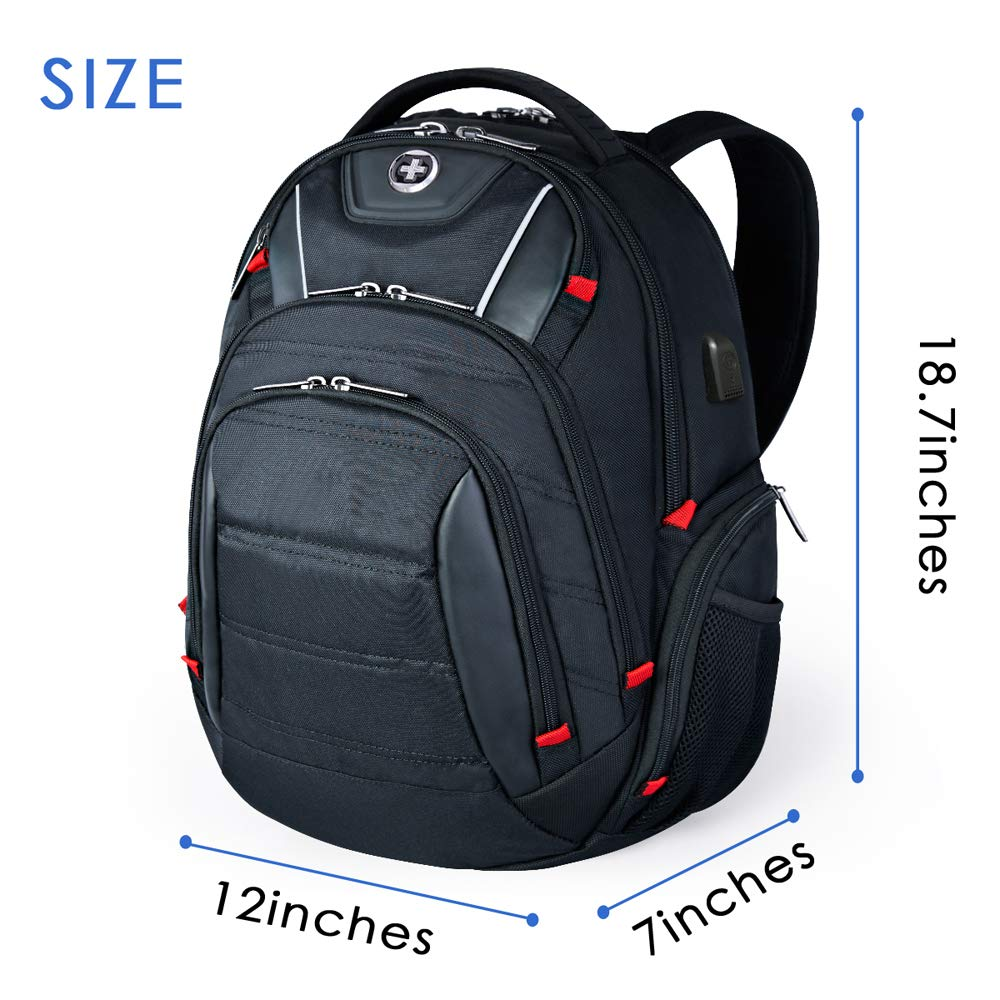 Laptop Backpack,Swissdigital Busniess Backpack with USB Port,RFID Protection and TSA Smart Scan for Travel Fits Under 15.6-Inch Laptop for Man, Black by Swissdigital (Image #2)
