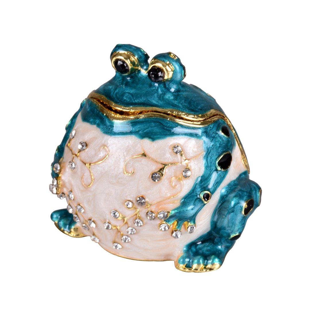MICG Handmade Blue Frog Trinket Box Wedding Ring Holder Animal Figurine Collectible Table Centerpiece Christmas Gift for Girl
