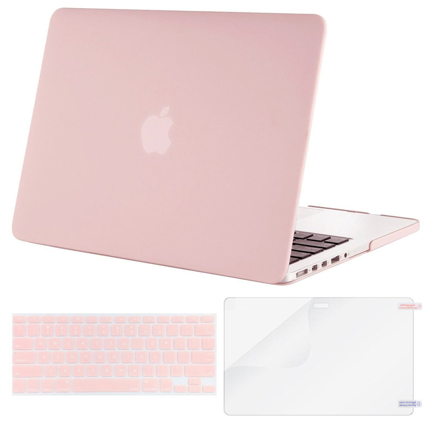 MOSISO Plastic Hard Case with Keyboard Cover with Screen Protector Only Compatible MacBook Pro (No USB-C) Retina 13 Inch (W/O CD-ROM)(A1502/A1425), Release 2015/2014/2013/end 2012, Rose Quartz