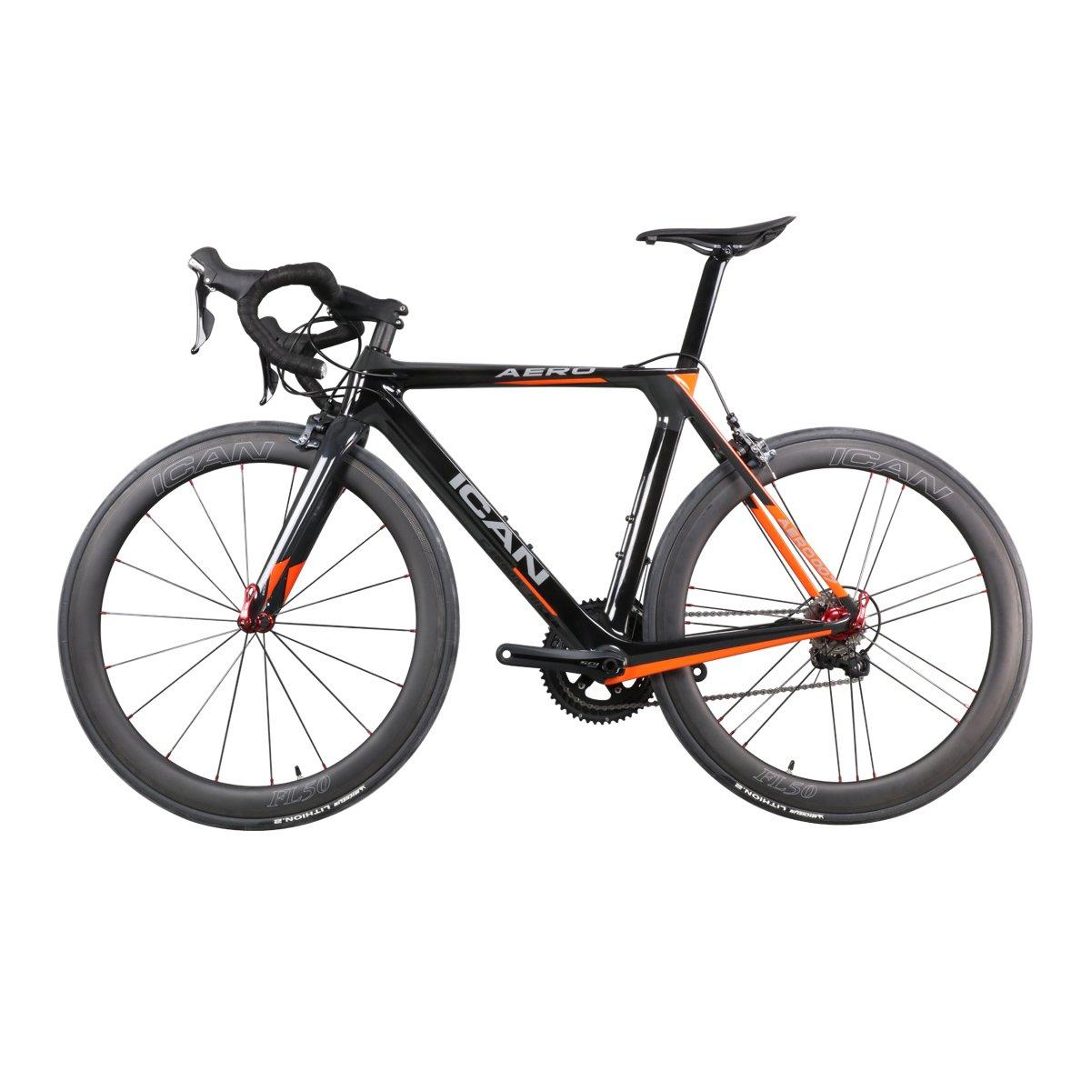 ICAN(アイカン) AERO007 カーボンロードバイク エアロモデル Shimano(シマノ) 105 (5800) グループを採用 Vブレーキ フレームサイズ:50/52/54/56/58cm 重量は約7.3㎏ B07DLB2LTV 50cm