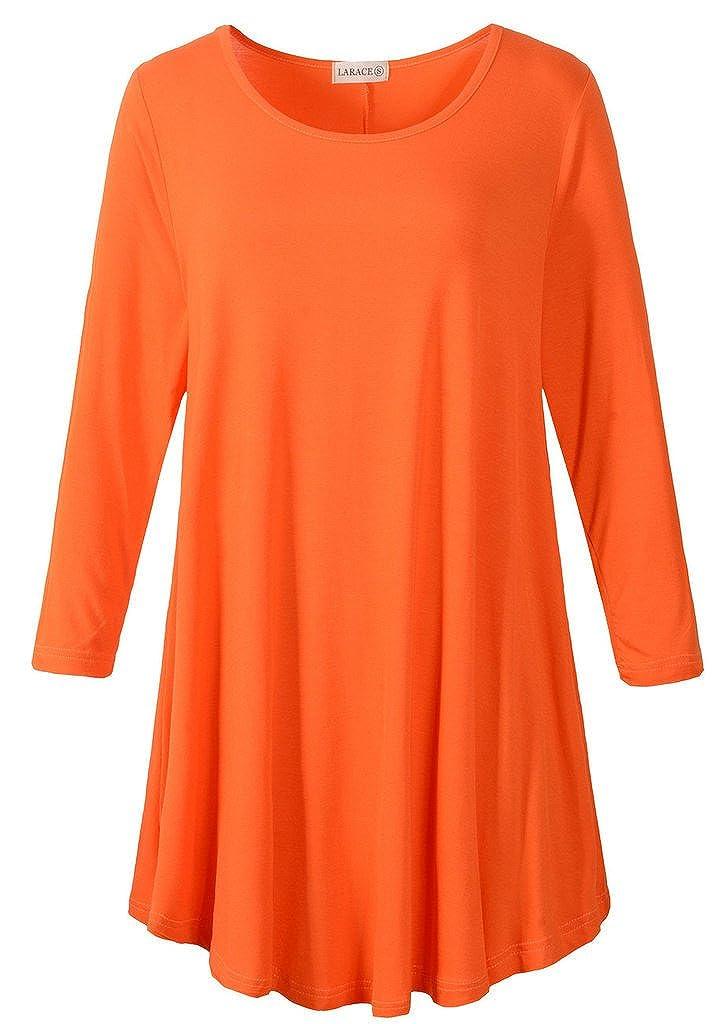 orange LARACE Women 3 4 Sleeve Tunic Top Loose Fit Flare TShirt