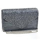 Womens Envelope Flap Clutch Handbag Evening Bag Purse Rhinestone Crystal Glitter Sequin Party Grey
