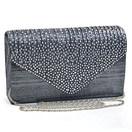 Womens Envelope Flap Clutch Handbag Evening Bag Purse Rhinestone Crystal Glitter Sequin Party Grey