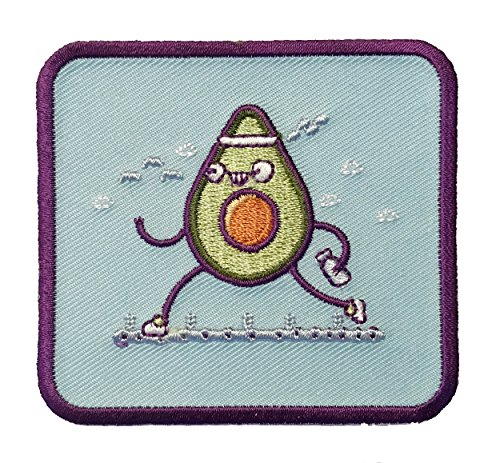 """Randy Otter """"Avacardio"""" Funny Avacado Running and Exercising Iron On Patch"""