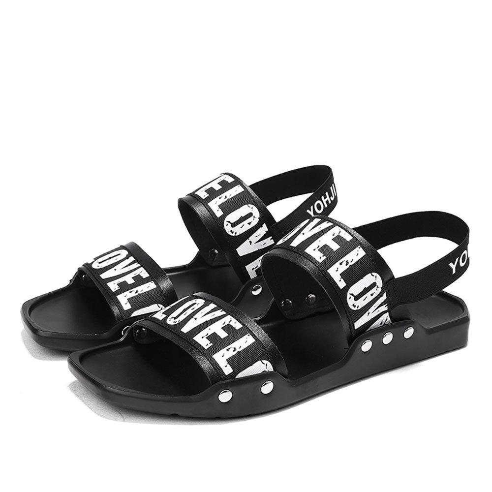 CJZHE Men's Flat Slippers Summer Non-Slip Beach Sandals Casual Wear Sandals (6 B (M) US, Black-A)
