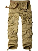 MUST WAY Men's Cotton Casual Military Army Cargo Camo Combat Work Pants with 8 Pocket