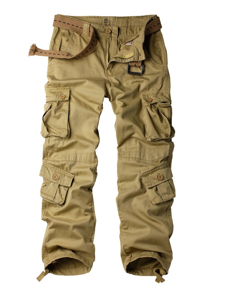 Must Way Men's Cotton Casual Military Army Cargo Camo Combat Work Pants with 8 Pocket Khaki 32