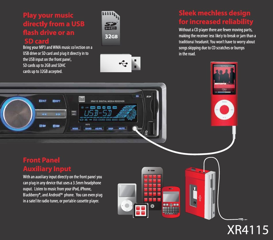 CD Dual Electronics DC208BT Multimedia Detachable 8 Character LCD Single DIN Car Stereo with Built-in Bluetooth USB /& MP3 Player