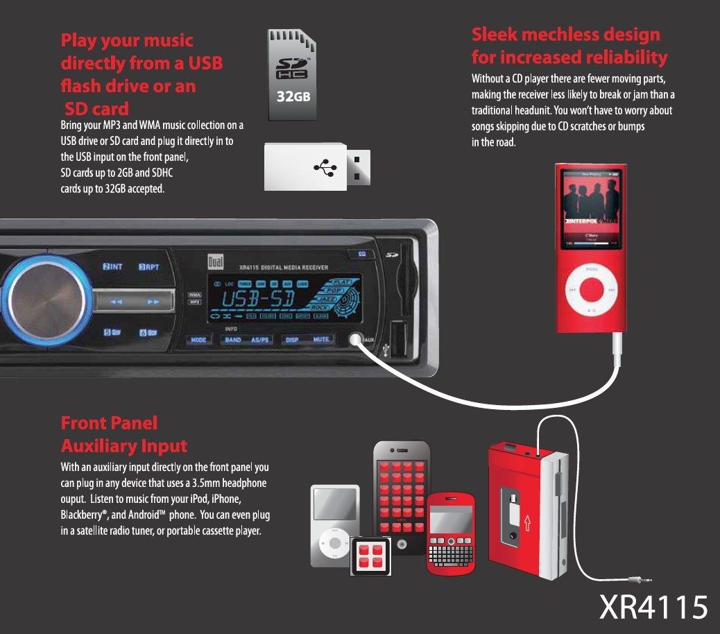 amazon com dual electronics xr4115 multimedia detachable mechless rh amazon com