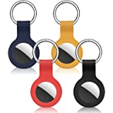 Cheermal 4 Pack Silicone Case Compatible with AirTags(2021) Anti-Scratch Protective Cover Accessory for AirTag Keychain (Red,