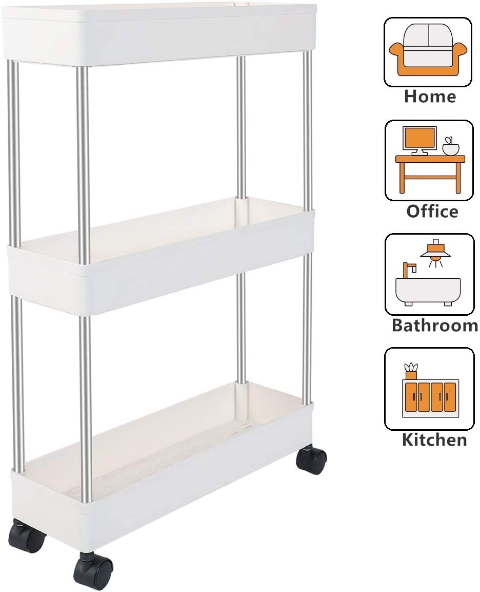 EXILOT 3 Tier Slim Storage Cart Narrow Shelving Unit Organizer Slide Out Storage Rolling Utility Cart Tower Rack for Kitchen Bathroom Laundry Narrow Places,White
