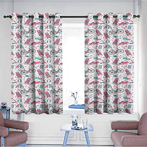 - HOMEDD Thermal Insulating Blackout Curtains,Bicycle Teenager Girls Hipster Pink Casual Shoes Bicycle Birds Headphones Glasses Camera,Blackout Draperies for Bedroom,W63x72L Multicolor