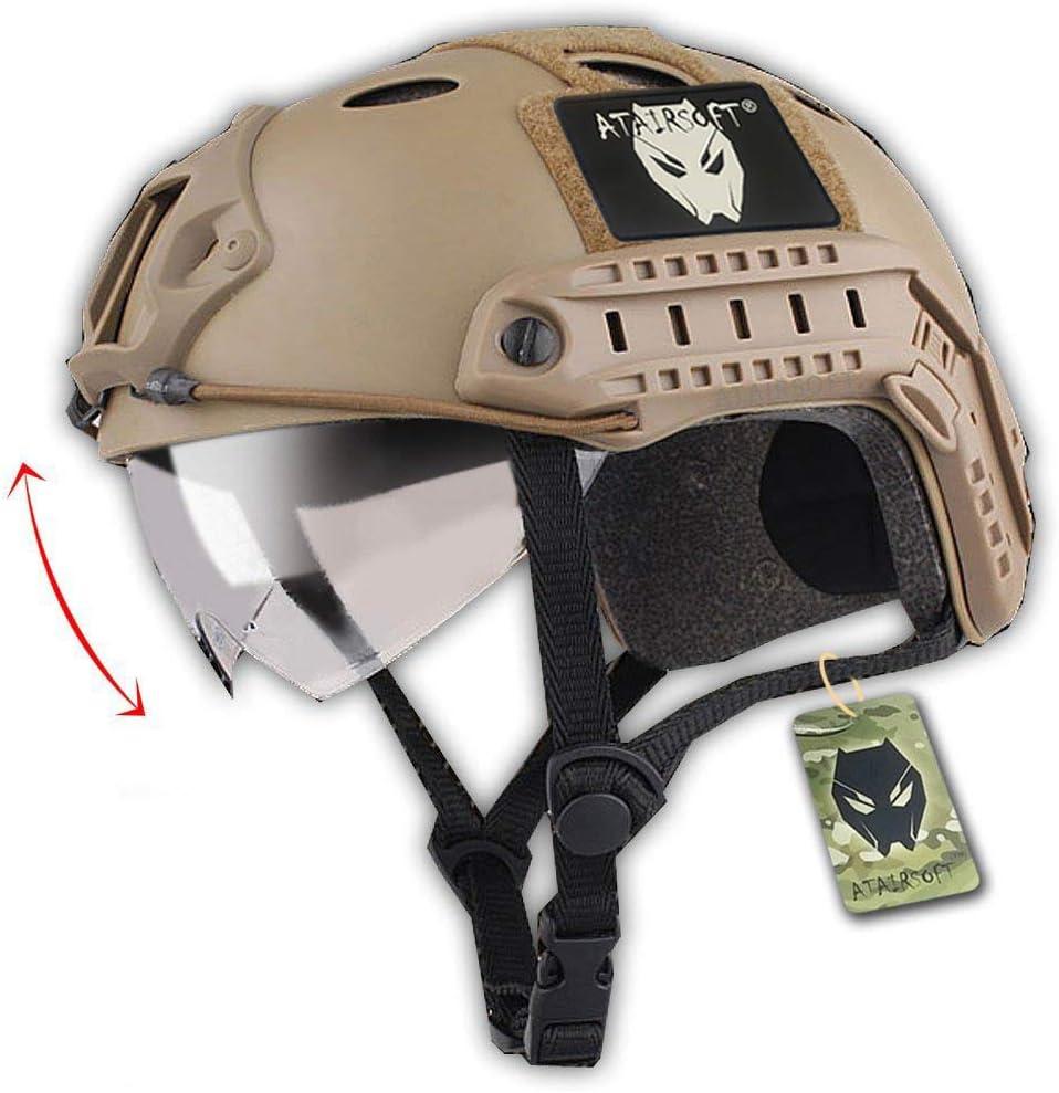 Worldshopping4U Combate rápido SWAT táctico estilo militar tipo PJ Casco con gafas para Airsoft CQB Disparo Paintball DE