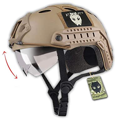 ATAIRSOFT PJ Type Tactical Multifunctional Fast Helmet with Visor Goggles Version DE