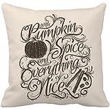 Pumpkin Spice Fall Halloween Home Decor Throw Pillow Case Cusion Cover 18 x 18 Inches