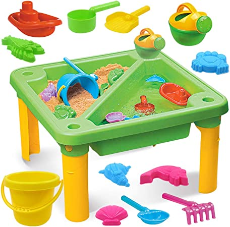 YQZ Mesa de Agua para bebés, Juego de Mesa de Arena y Agua para niños multifunción, 13 Piezas/Juego Juguetes de Arena para Playa Mesa de Agua Divertida Juguetes de Playa de Verano: