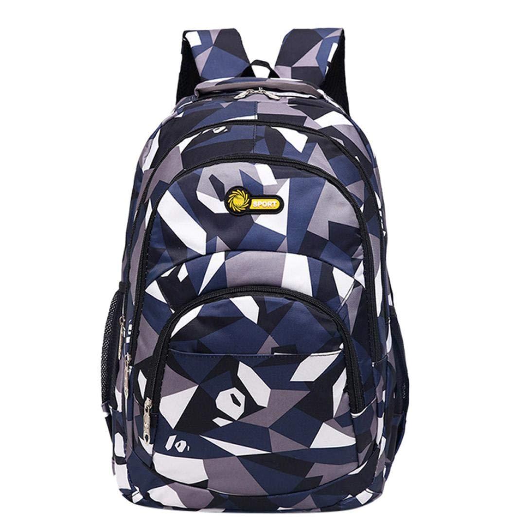 Hevoiok Unisex Schulrucksack mit Reißverschluss Komfortable Bürdenreduzierung Backpack Camouflage Druck Schülertasche für Teenager Mädchen Jungen Schule (Lila, 30 * 45 * 14cm) Hevoiok-Rucksack