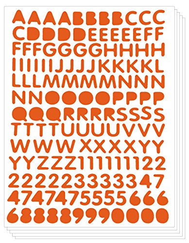 (Primary Character Alphabet Numbers Letters Stickers Peel Decorative Label (Pack of 5 sheets, Orange))