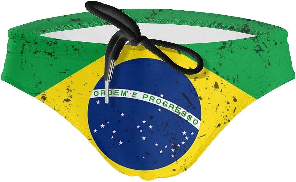 HBWUYZU-T Retro Brazilian Flag Mens Sport Drawstring Bikini Swimsuit
