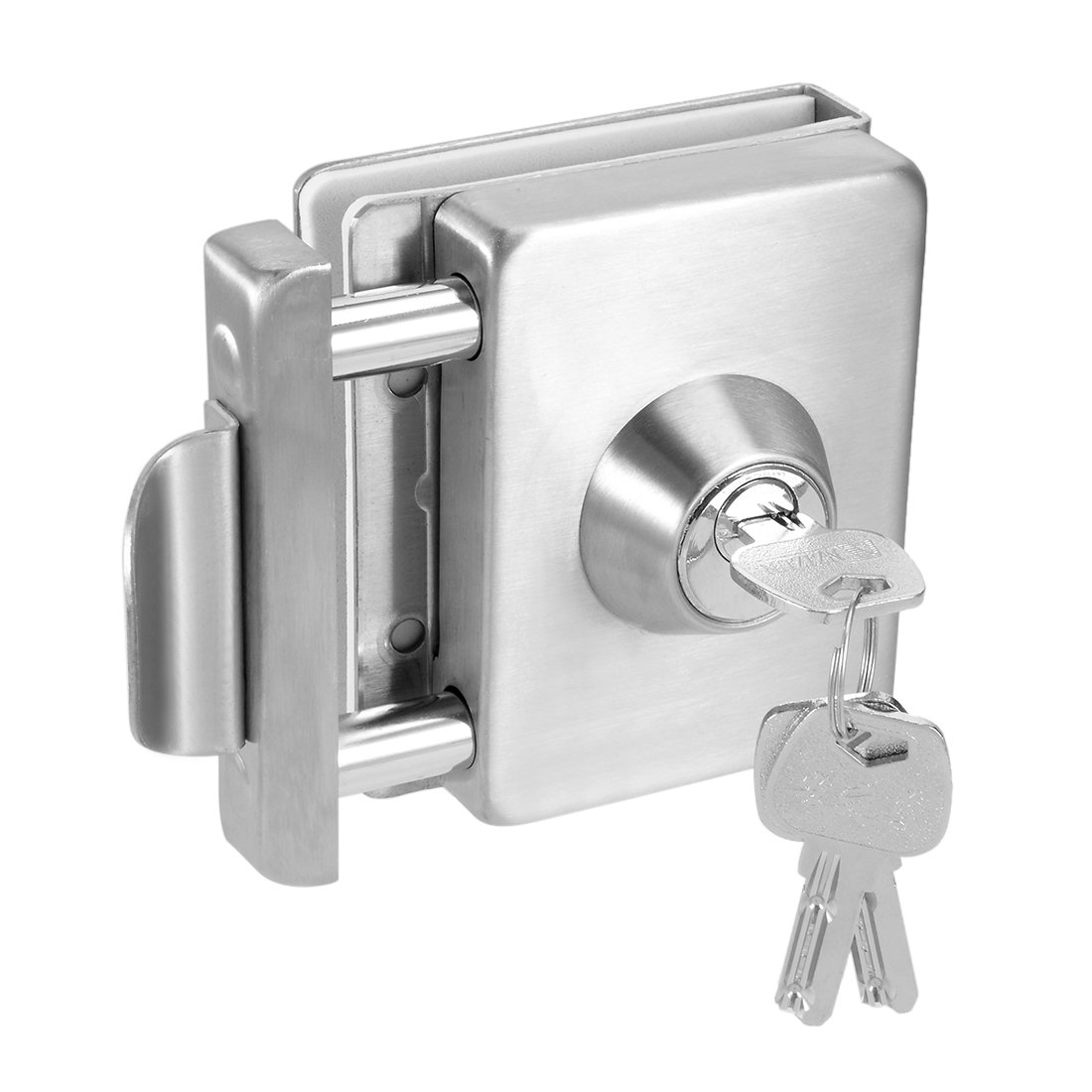 uxcell 10mm-12mm Glass Door Double Latch Lock Stainless Steel Brushed Finish w Keys